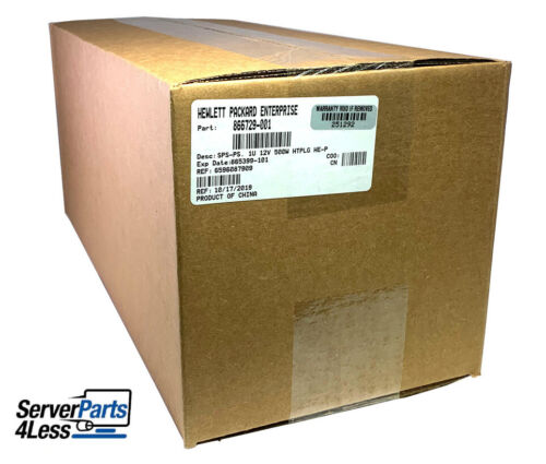 866729-001 HPE 500W FS PLATINUM HP POWER SUPPLY 865408-B21 NEW HPE SEALED SPARES