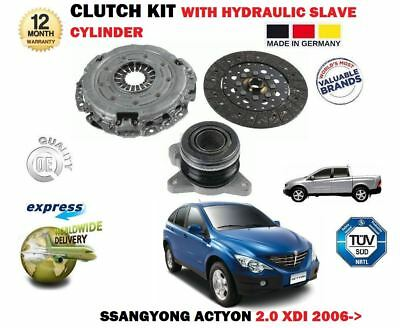 FOR SSANGYONG ACTYON 2.0 XDI 2006-> CLUTCH KIT WITH HYDRAULIC SLAVE CYLINDER