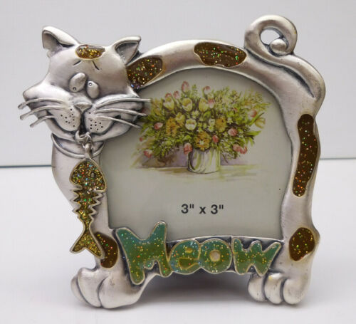 "CAT PHOTO FRAME, SMALL, PEWTER, ""MEOW"" HAS BLING, ITEM 1168"