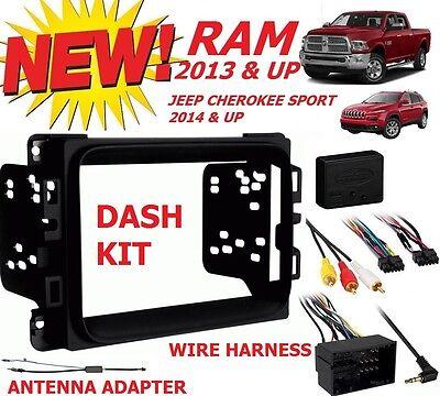 2013 & UP DODGE RAM TRUCK CAR STEREO INSTALLATION DASH KIT +HARNESS +ANTENNA