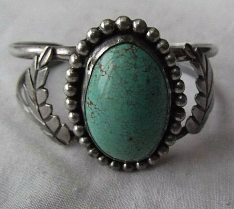 Antique Navajo Bracelet Sterling Silver & Turquoise #8 Old Pawn Native American