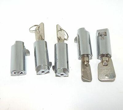 5 Used Vending Machine T-handle Door Lock Plugs With T23012 Keys