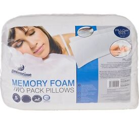 Dreamtime 2 Pack of MEMORY FOAM Pillows. New & Unopened.