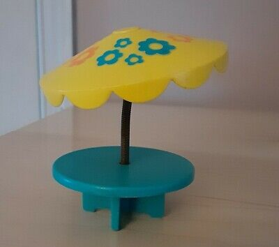 Vintage Fisher Price little people turquoise/yellow floral umbrella table 726