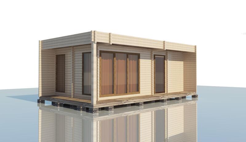 Ökoholzhaus,Fer,Blockhaus 100mm BSH 8,80x4,80 inkl.Hochwertige Fenstern/Türen