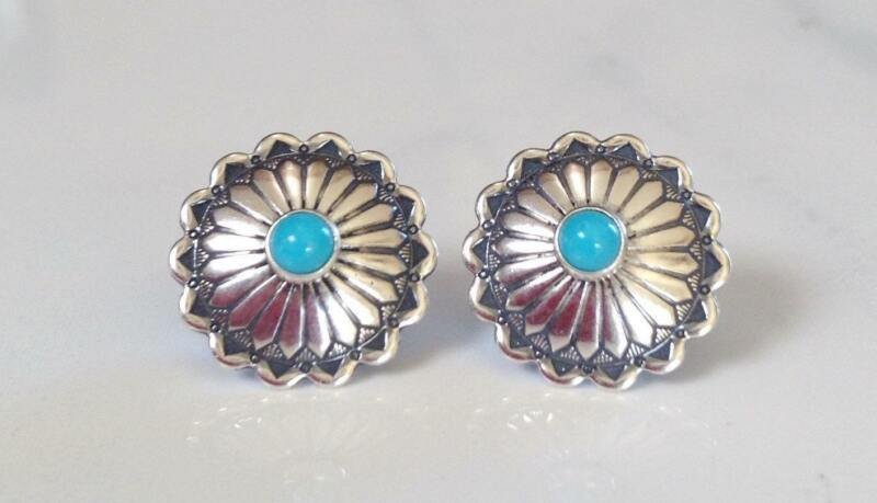 Navajo Sterling Silver Turquoise Concho Stamped Stud Earrings