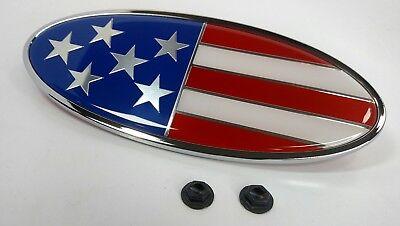 "Chrome Metal US Flag Emblem, 8"" x 3.25"" USA Hood Ornament for Peterbilt"