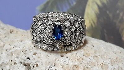 Sterling Silver Lab Created Ceylon Sapphire and White Topaz Pave Diamond Design (Ceylon Lab Created Sapphire)