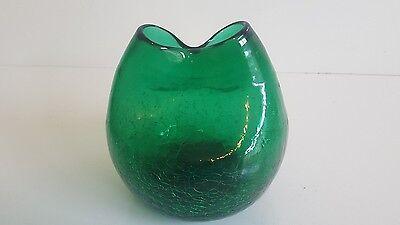Vintage Green Crackle Glass Vase