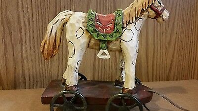 Vintage Beautiful Carved Animal (Horse) Pull Toy on Wagon w/metal wheels