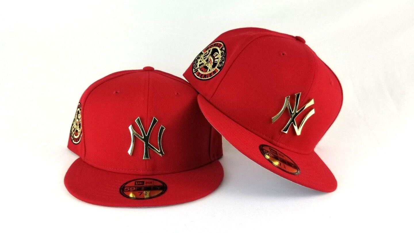New Era Red 1949 Word Series New York Yankee Gold Metal Badge fitted ... ceb6a91d613