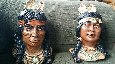 Native American Indians  Chalkware 1966 1974 Universal Statuary Corp Bookends