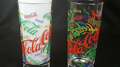 Pair of 2 Multi Color Coca-Cola Drinking Glasses 16 oz Cup