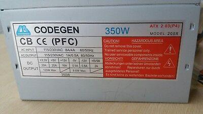 Codegen 200X 350W ATX Desktop Computer Netzteil / PC Power Supply 80mm Fan PFC