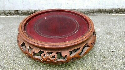 VINTAGE ORIENTAL STAINED CARVED WOOD VASE TROPHY BOWL FIGURE STAND (B)