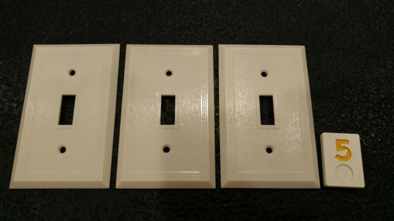 3 Ivory Vintage Bakelite ? Ribbed Deco Single Gang Switch Plate Covers Y5