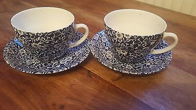 Vintage Burleigh 'Calico'  large breakfast cup and saucer x2 deep blue/white