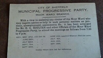 Vintage Card. City of Sheffield. Municipal Progressive Party. Moor Ward Branch.