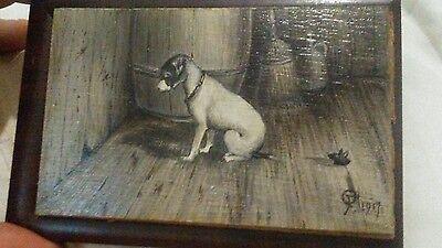 Original Signed Antique Dog Oil Painting on Board Dated 1917 Old Vintage Mouse