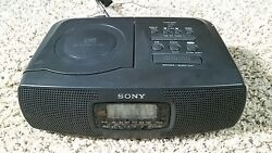 Sony AM/FM LCD Dual Alarm Clock Radio Stereo CD Player ICF-CD820 Tested Works