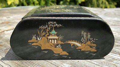 Antique Vintage Beautiful Wooden Chinese Oriental Black Cigarette Box Holder *