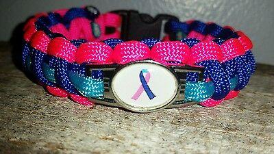 Thyroid Cancer Awareness Ribbon 550 Paracord Survival Bracelet Shoelace Charm