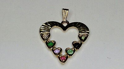 UK HALLMARKED 9CT YELLOW GOLD DEAREST HEART PENDANT WITH DIAMOND
