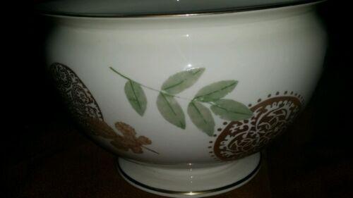 Rare Lenox Nature's Impressions Large Cream Cache Pot Vase Bowl 24K Gold Trim