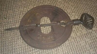 """ROYAL BUHL SONS CO  6"""" COAL WOOD STOVE Pipe Damper Spindle DETROIT MICHIGAN OLD!"""