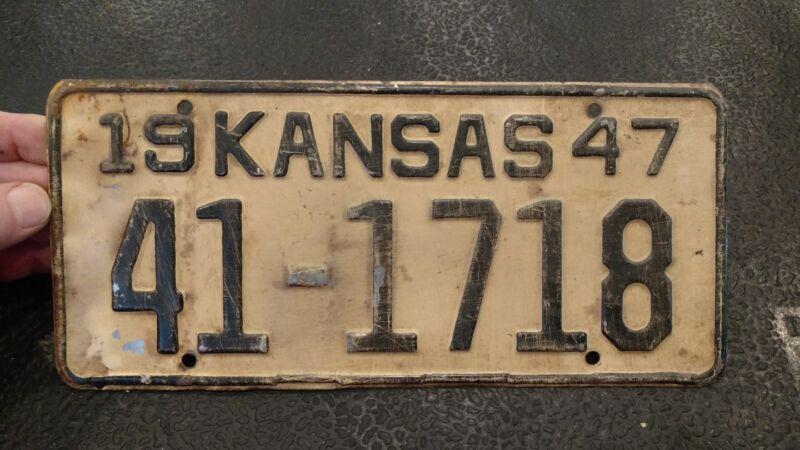 Single 1947 Kansas License Plate #41-1718 - ms