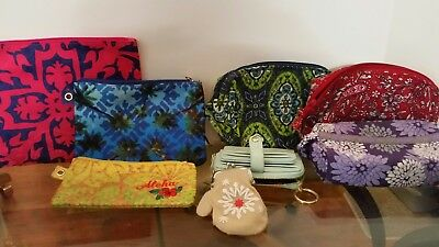 LOT of 8 cosmetic, travel, accessory cases. Coin purses. All excellent!