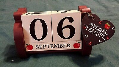 Special Teacher Large Wood Block Desk Calendar Great Used Country Rustic Look