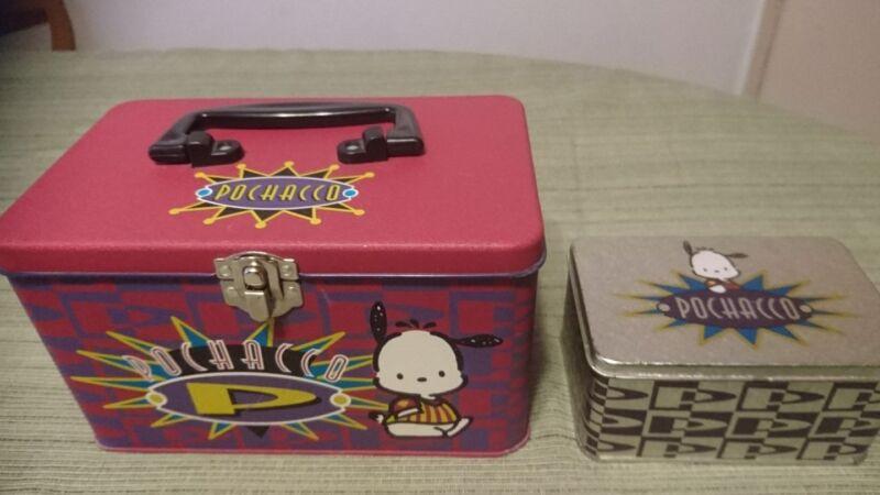 VINTAGE 2 1996 SANRIO POCHACCO BIG & SMALL TIN BOXES