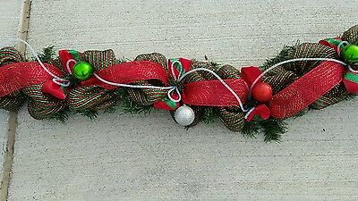 CUSTOM LENGTHS DECO MESH GARLAND, MANTLE, RAILING, CHRISTMAS, WINTER DOOR SWAG](Christmas Mantle Garland)