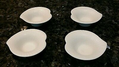 4 RORSTRAND SWEDEN VINTAGE BUTTER PATS / SALT DISH IN WHITE MATTE LILLY PATTERN