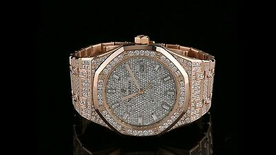 AP Audemars Piguet Royal Oak Rose Gold 30 Carat VS Diamonds Iced Out Face Deal!!