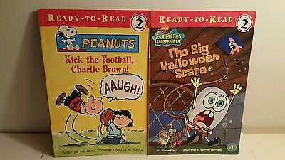 Ready-to-Read Level 2 Lot of 2: Spongebob Halloween Scare and Peanuts Softcover