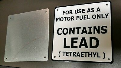 """CONTAINS LEAD gas pump rustproof plate sign..6""""x 6""""..WHITE background..2 of 3"""