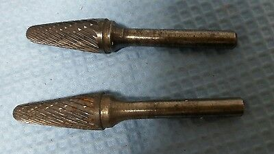 Lot Of 2 Pcs  Sgs Tool Company 15253 Sl-4 Double Cut Carbide Bur  Used