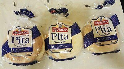 Mediterranean classic white Pita Bread. 3 packages. Kosher.