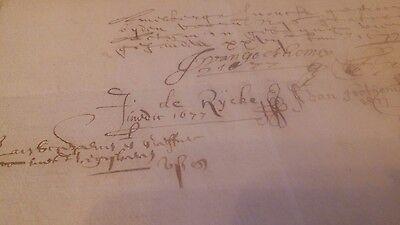 1677 Urkunde Vertrag von 1677  (5 Seiten) Niederlande Niederrhein