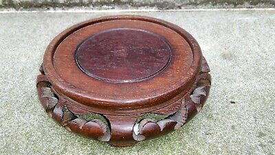 VINTAGE ORIENTAL STAINED CARVED WOOD VASE TROPHY BOWL FIGURE STAND (C)