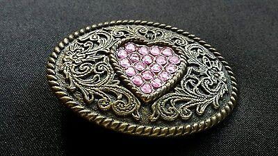 - FLORAL DECORATIVE DESIGN PINK HEART RHINESTONE BELT BUCKLE BRASS / BRONZE TONED