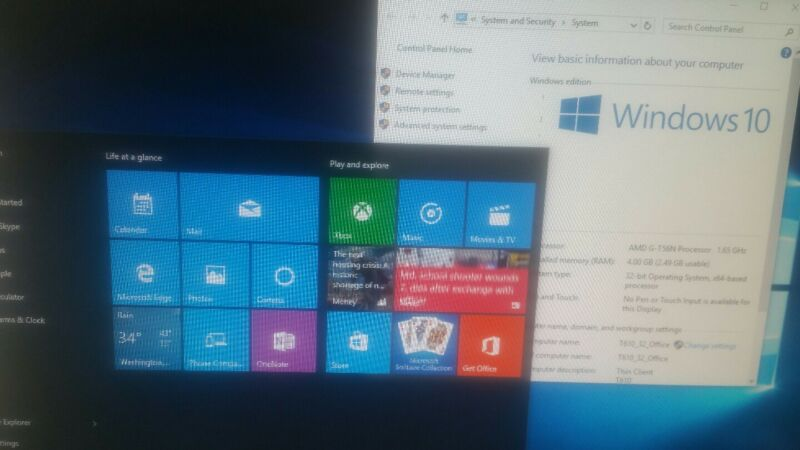 HP T610 Thin Client Flexible 4GB, 64GB HD SSD; WIFI Windows 10
