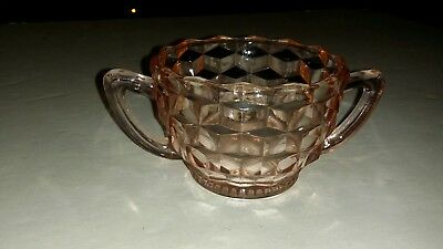 Depression Glass Pink Cube-Cubist Open Sugar Jeannette