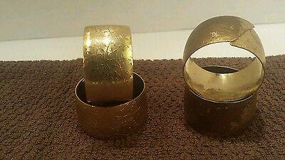Set of 4 Metal Gold Tone Scrolled Napkin Rings