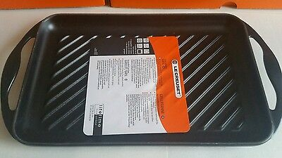 Le Creuset 32.5cm Cast Iron Rectangular Grill, Satin Black Brand New in Box