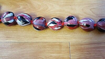 Beautiful Hawaiian Painted Red, Black and Gray Marble Kukui Nut Lei