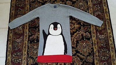 BABY GAP Intarsia Penguin Gray Red Black White Sweater Dress & sock Girl Size 5T (Penguin Baby Dress)