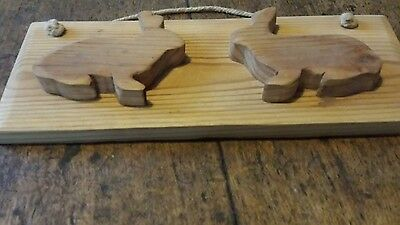Antique reclaimed pine  plaque over 100 years old -- rabbits - chic